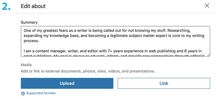 Upload Resume to LinkedIn - Click Upload