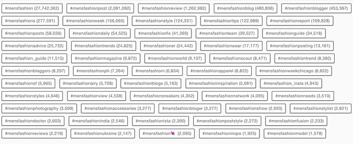 how to find menswear instagram hashtags