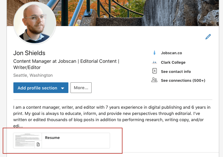 where you upload your resume on linkedin