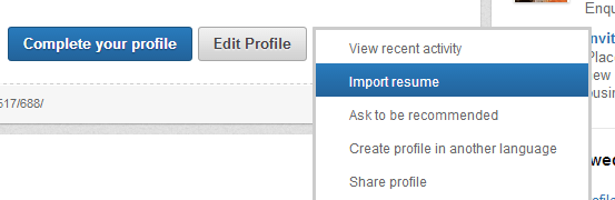 Import your resume to LinkedIn
