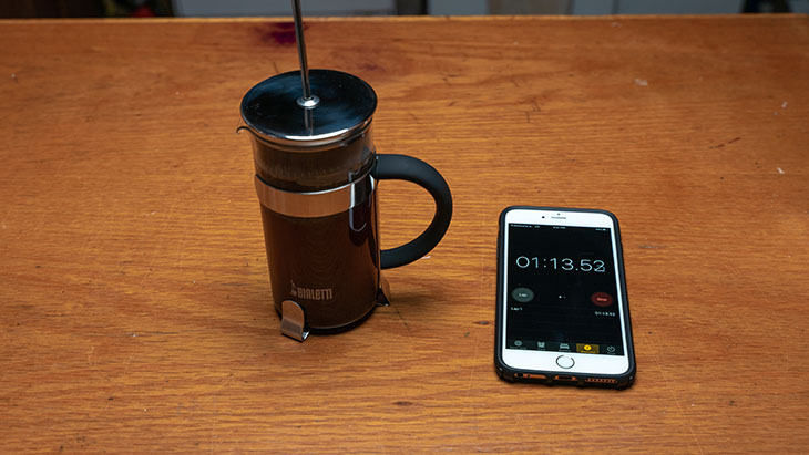 timing the brew in a french press coffee maker