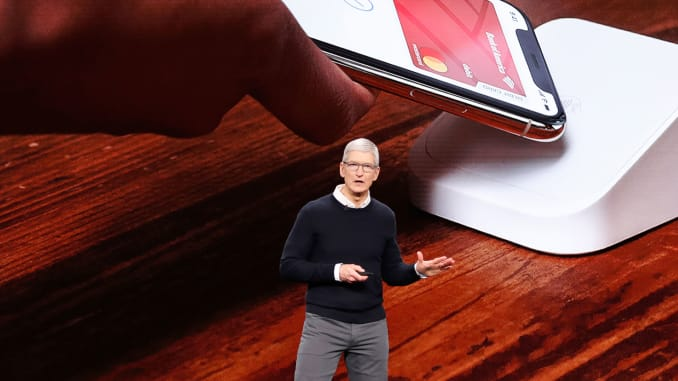 Tim Cook, CEO of Apple, speaks during an Apple special event at the Steve Jobs Theater in Cupertino, California, March 25, 2019.